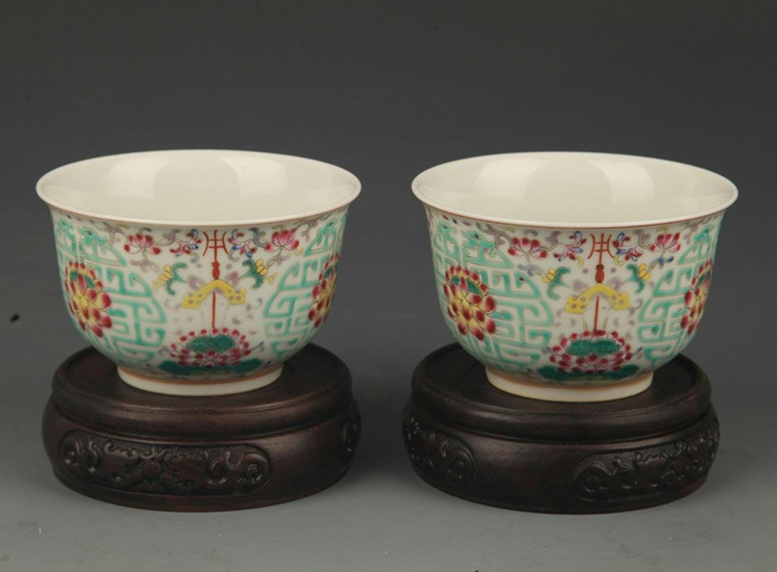 REAR PAIR OF FAMILLE ROSE FLOWER PATTERN PORCELAIN CUP