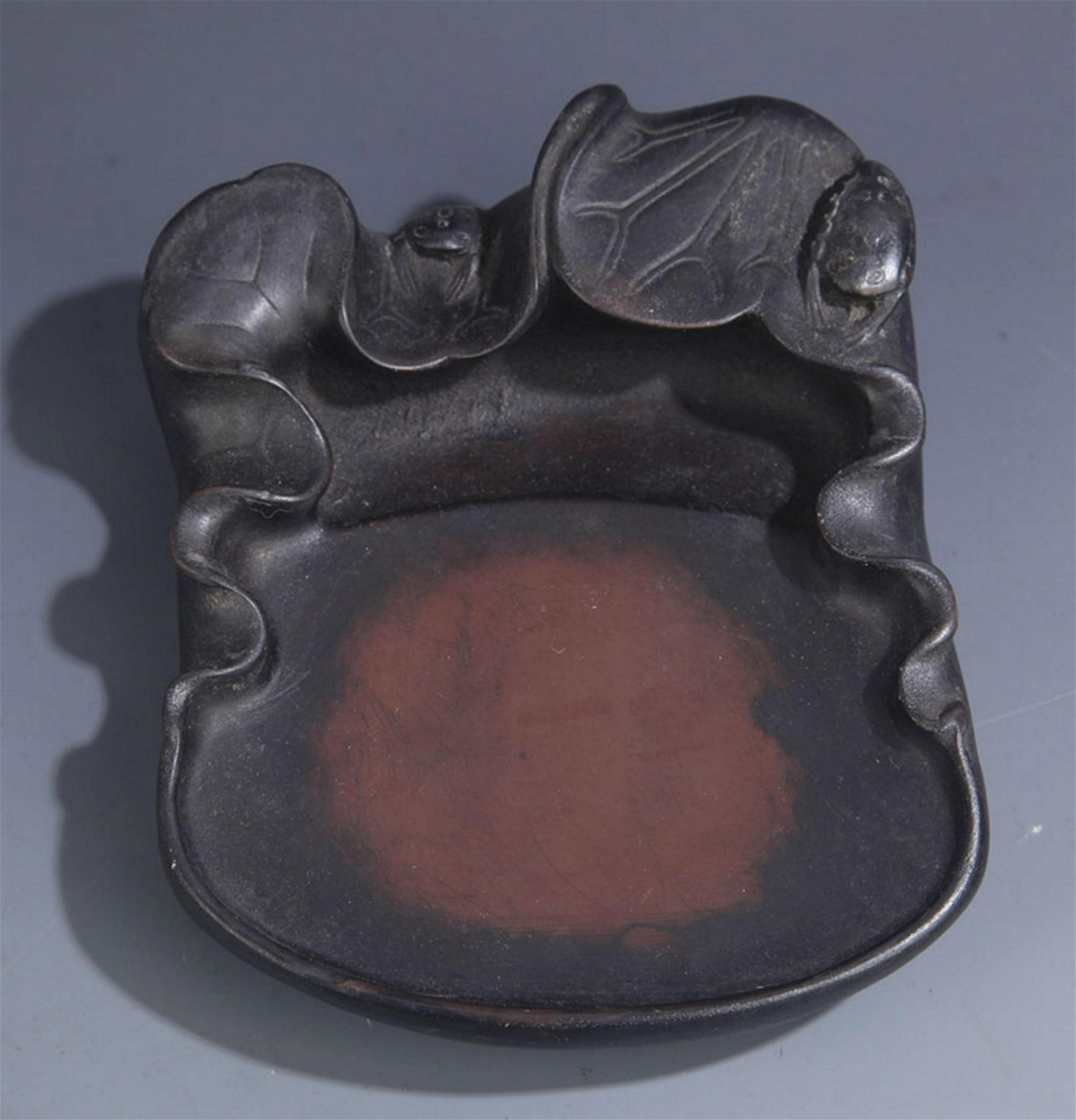 A FINE LOTUS SHAPE CHINESE CALLIGRAPHY STONE INK