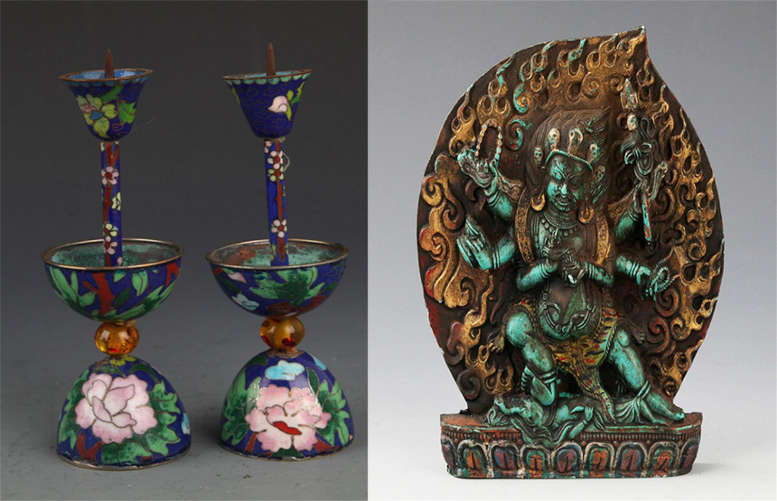 CLOISONNE CANDLE HOLDER AND TIBETAN BUDDHA
