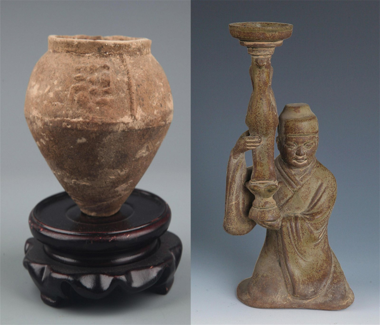 A OLD SMALL CHINESE POTTERY JAR AND HUMAN FIGURE