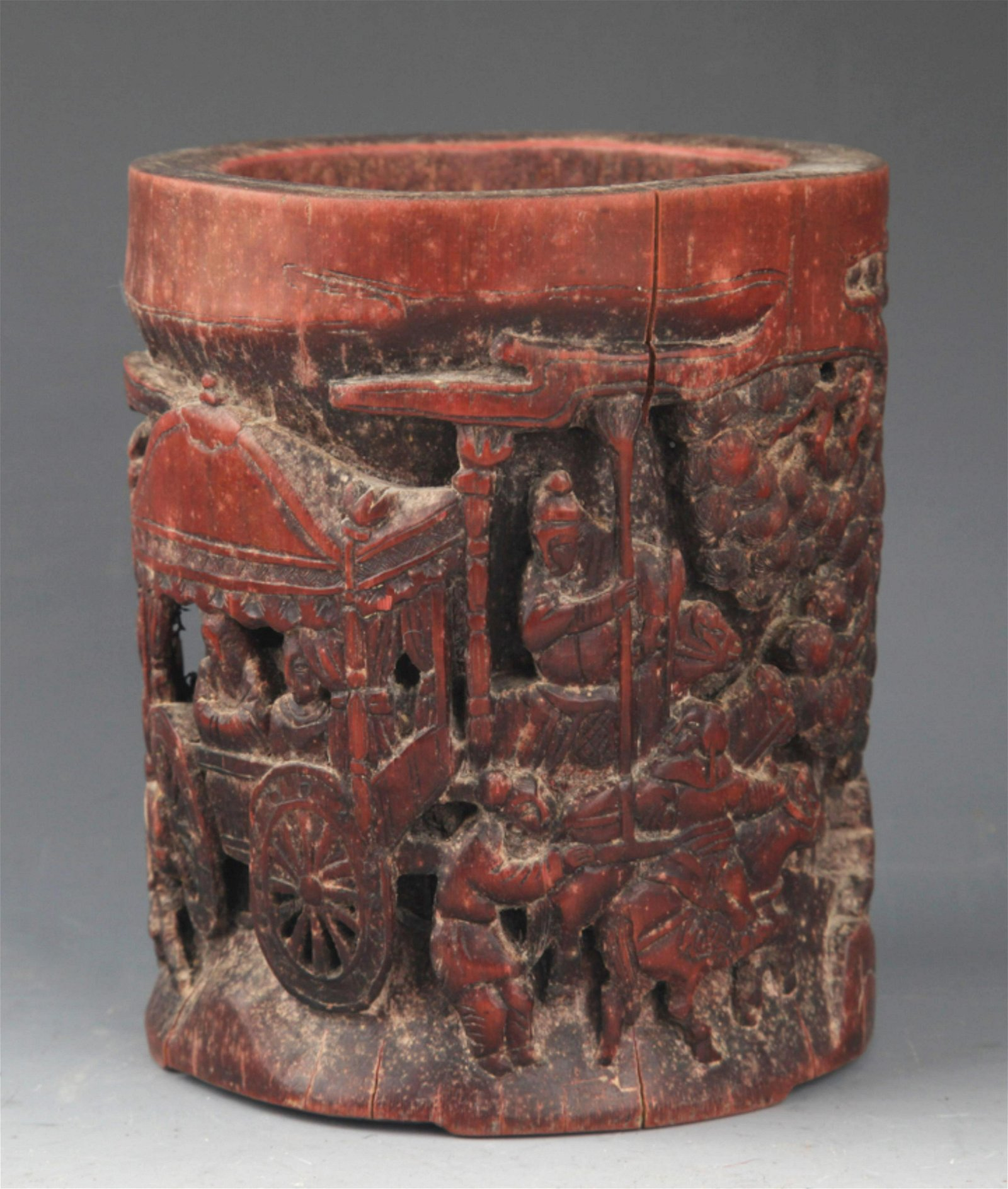 A FINE STORY CARVING BAMBOO BRUSH POT