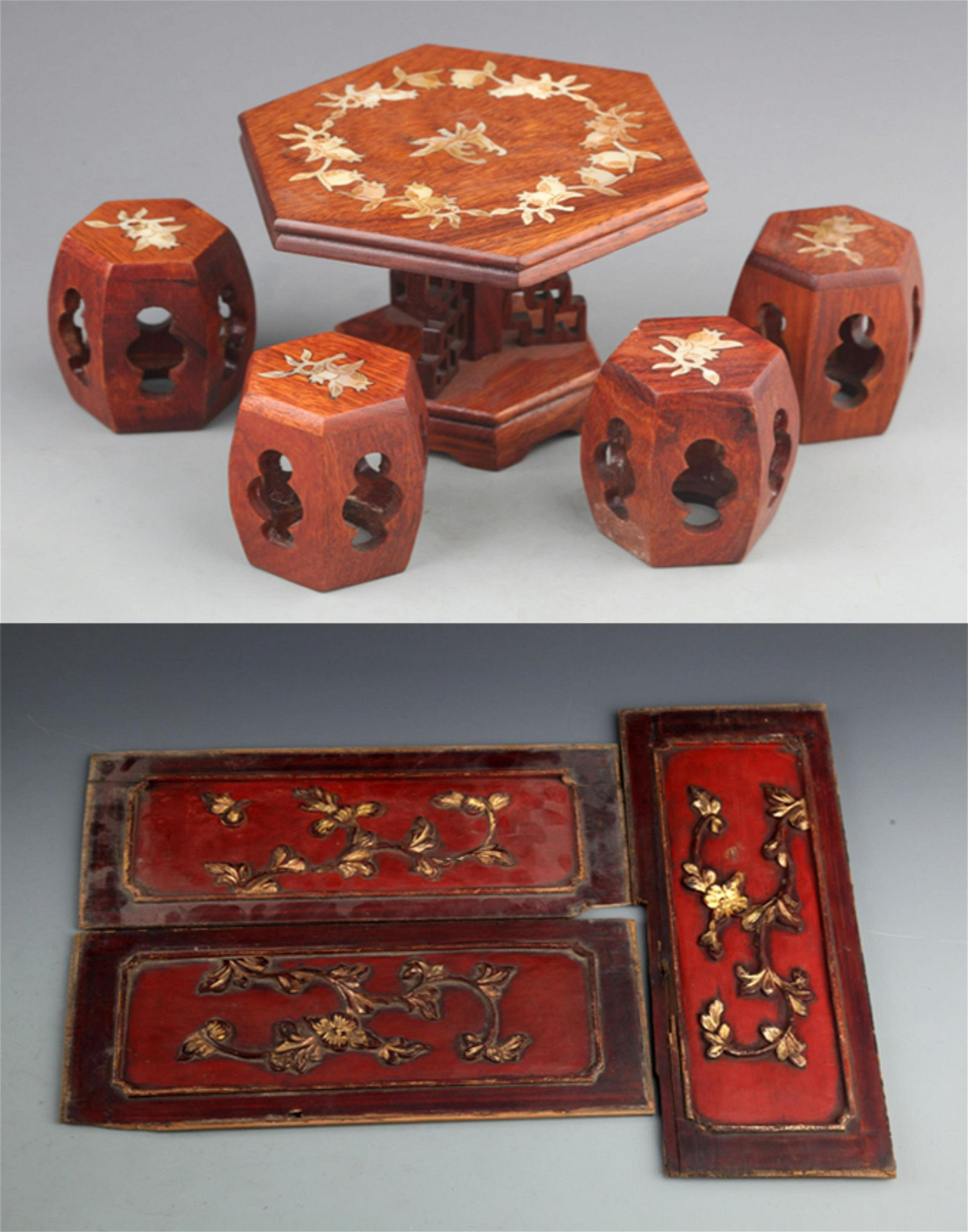 GROUP OF OLD FINELY CARVED WOODEN BOARD