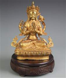 RARE TIBETAN BUDDHISM GILT BRONZE FOUR ARM GUAN YIN