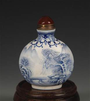 BLUE AND WHITE LANDSCAPING PORCELAIN SNUFF BOTTLE