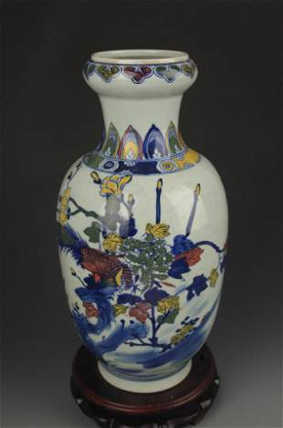 BLUE AND WHITE FAMILLE ROSE CHICKEN PATTERN VASE