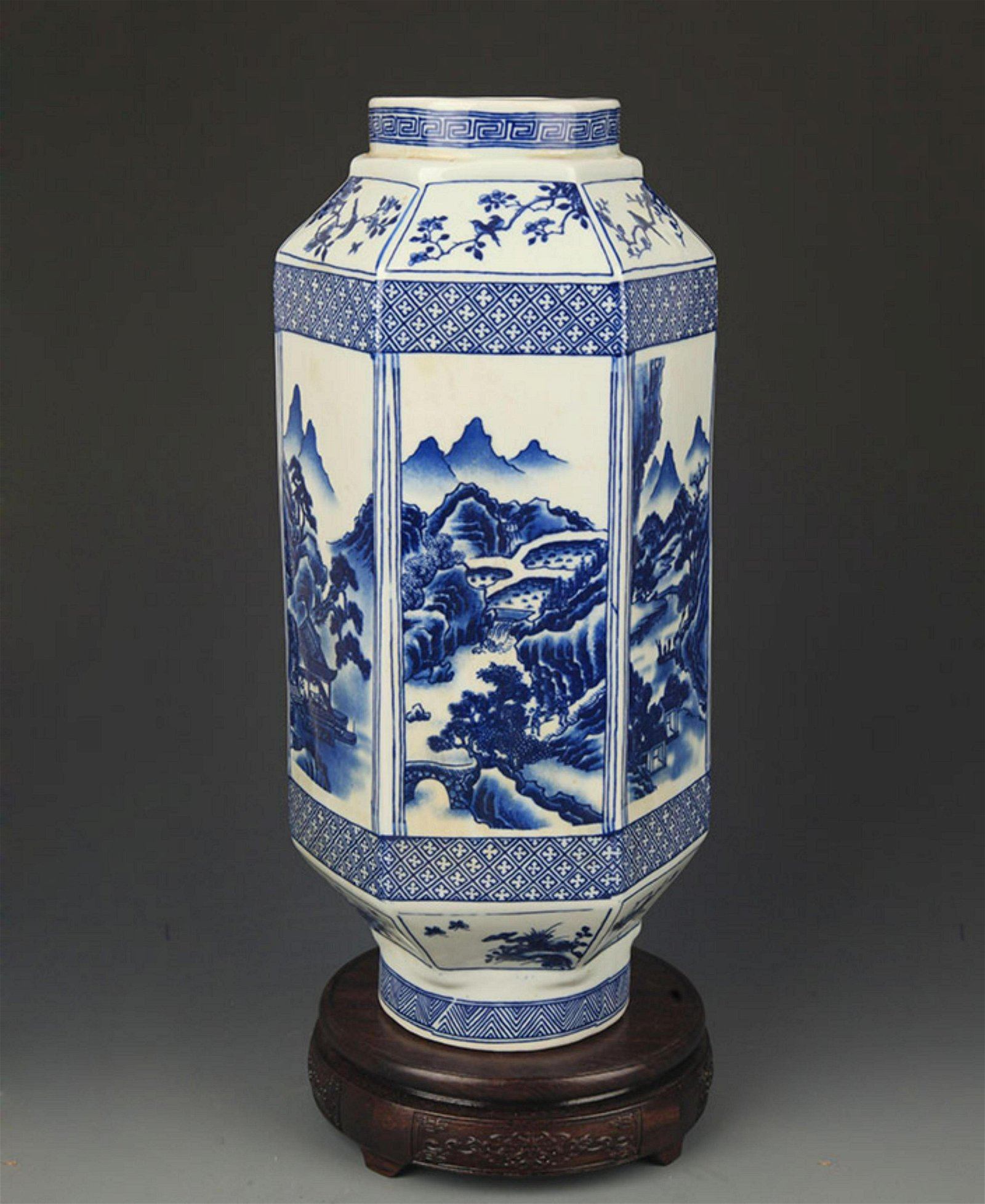 BLUE AND WHITE LANDSCAPING SIX SIDE VASE