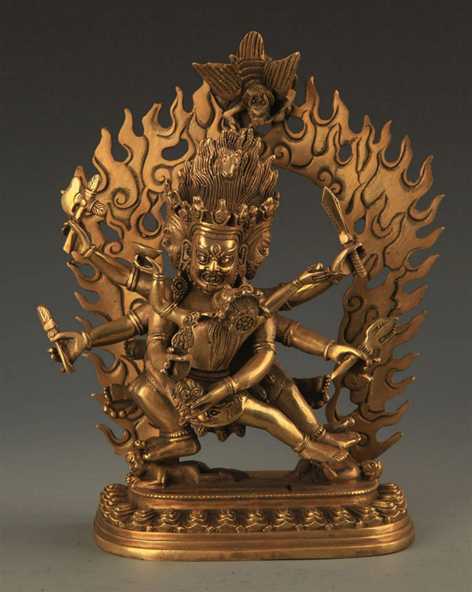 TIBETAN BUDDHISM BRONZE AKSHOBHYAVAJRA STATUE
