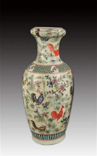 A FAMILLE VERTE FLOWER AND CHICKEN PAINTED PORCELAIN