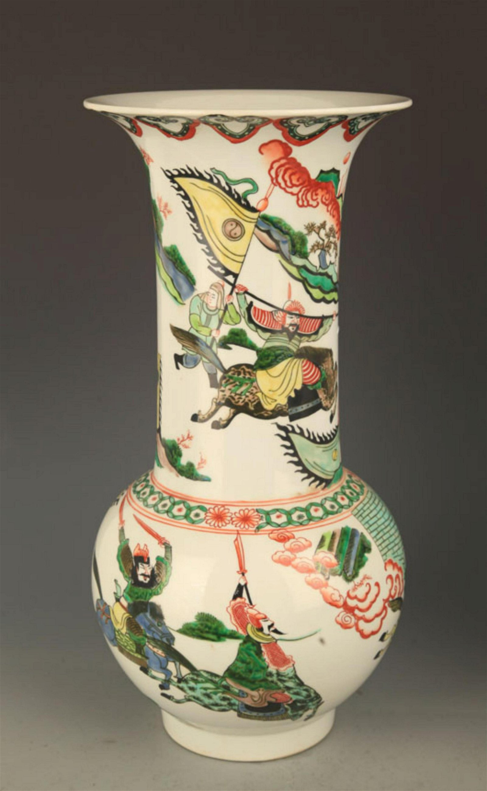 A FINE FAMILLE VERTE STORY PAINTED WIDE TOP VASE
