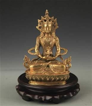 TIBETAN BUDDHISM BRONZE AMITAYUS BUDDHA