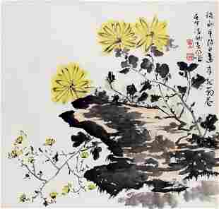 A FINE CHINESE PAINTING ATTRIBUTED TO HUO CHUN YANG
