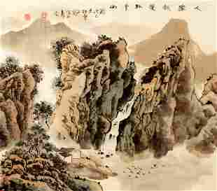 A FINE CHINESE PAINTING ATTRIBUTED TO ZI LONG
