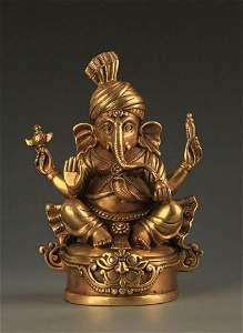 TIBETAN BUDDHISM BRONZE GANESHA STATUE