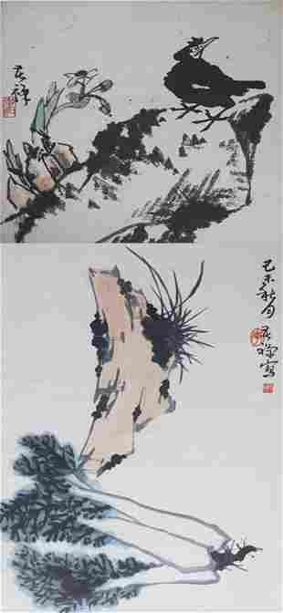 GROUP OF TWO CHINESE PAINTING ATTRIBUTED TO LI KU