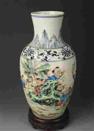 BLUE AND WHITE FAMILLE ROSE GUAN YIN STYLE VASE