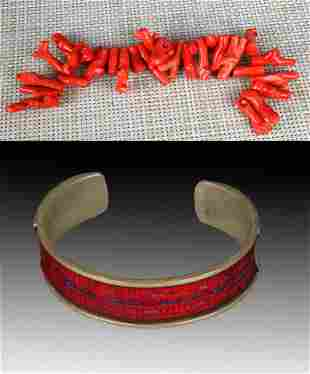 A FINE CORAL AND OLD BRACELETS