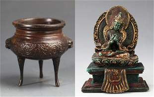 A FINELY CARVED TIBETAN BUDDHA FIGURE AND CENSER