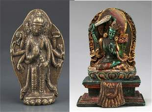 PAIR OF FINELY CARVED TIBETAN BUDDHA FIGURE