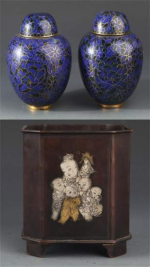 GROUP OF THREE FINELY CARVED DECORATION