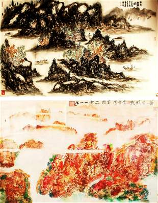 MA XUE TAO AND BA QIU CHINESE PAINTING ATTRIBUTED TO