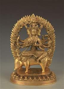 TIBETAN BUDDHISM BRONZE MARICI BUDDHA STATUE