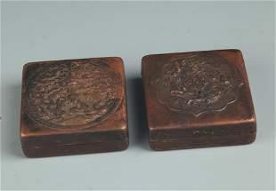 PAIR OF ANIMAL CARVING BRONZE INK BOX