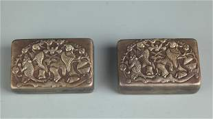 GROUP OF TWO FINELY CARVED BRONZE INK BOX
