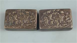 GROUP OF TWO BRONZE TWO IMMORTAL INK BOX