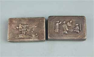 GROUP OF TWO BRONZE CHARACTER PATTERN INK BOX