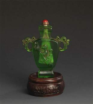 A GREEN GLASS BAMBOO STYLE SNUFF BOTTLE