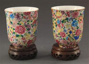PAIR OF FAMILLE ROSE PORCELAIN CUP