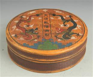 A GILT LACQUER DRAGON PAINTED BOX WITH COVER