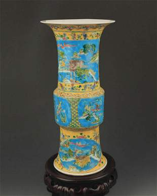 A TURQUOISE GROUND, YELLOW GLAZE FAMILLE ROSE VASE
