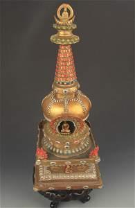 RARE COLORED TIBETAN BUDDHISM BRONZE BUDDHA TOWER