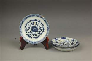 GROUP OF THREE BLUE AND WHITE PLATE