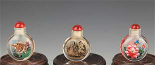 GROUP OF THREE INNER PAINTED GLASS SNUFF BOTTLE