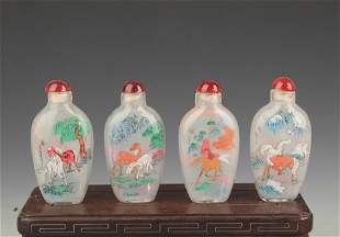 SET OF FOUR FINELY PAINTED GLASS SNUFF BOTTLE