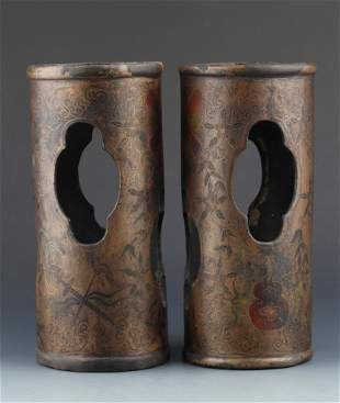 PAIR OF FINE PAINTED WOOD LACQUER VASE