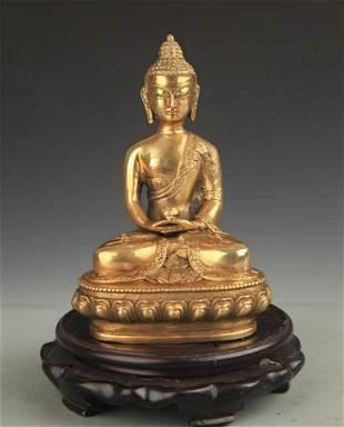 A TIBETAN BUDDHISM BRONZE AMITABHA BUDDHA