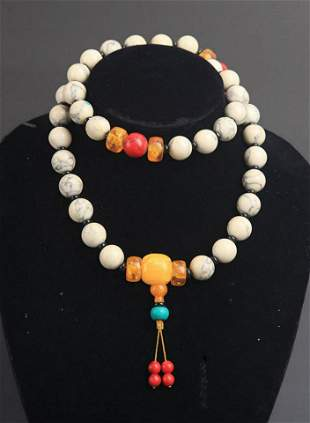 FINE CORAL AND AMBER NECKLACE