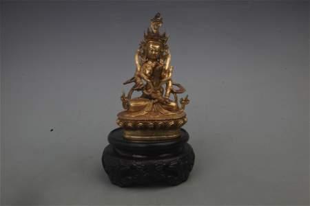 RARE GILT BRONZE HAPPY BUDDHA STATUE