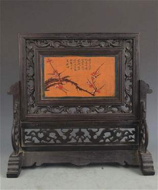 FINE WOOD CHINESE LACQUER TABLE PLAQUE