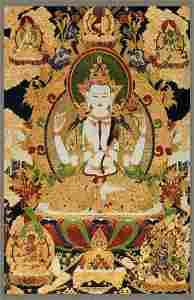 A FINE TIBETAN THANGKA FOUR ARM GUAN YIN ON FABRIC