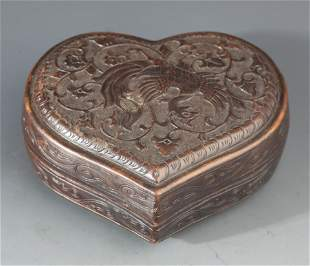 A SMALL FINELY CARVED BRONZE ROUGE BOX