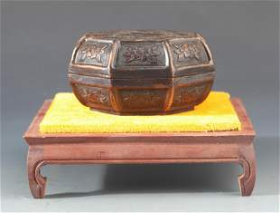 A FINELY CARVED BRONZE ROUGE BOX