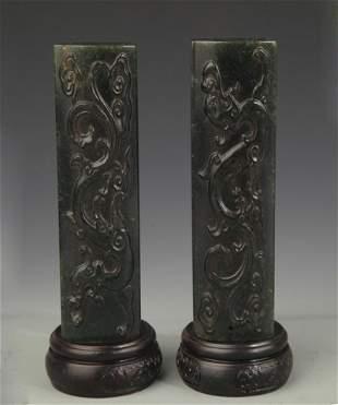 PAIR OF DRAGON CARVING SHOUSHAN STONE PAPER WEIGHT