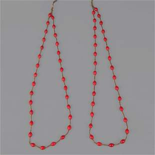 GROUP OF TWO RED CORAL NECKLACE