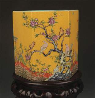 A YELLOW GROUND FAMILLE ROSE PORCELAIN VASE