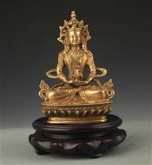 TIBETAN BUDDHISM BRONZE IMMEASURABLE LIFE BUDDHA