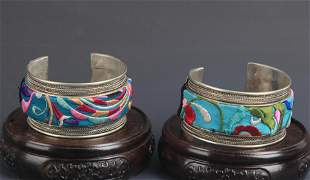 GROUP OF TWO OLD CHINESE EMBROIDERY BANGLE